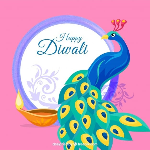 Background of happy diwali with peacock