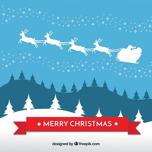 Background of santa claus on sledge
