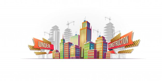 Big city buildings on the background of buildings under construction