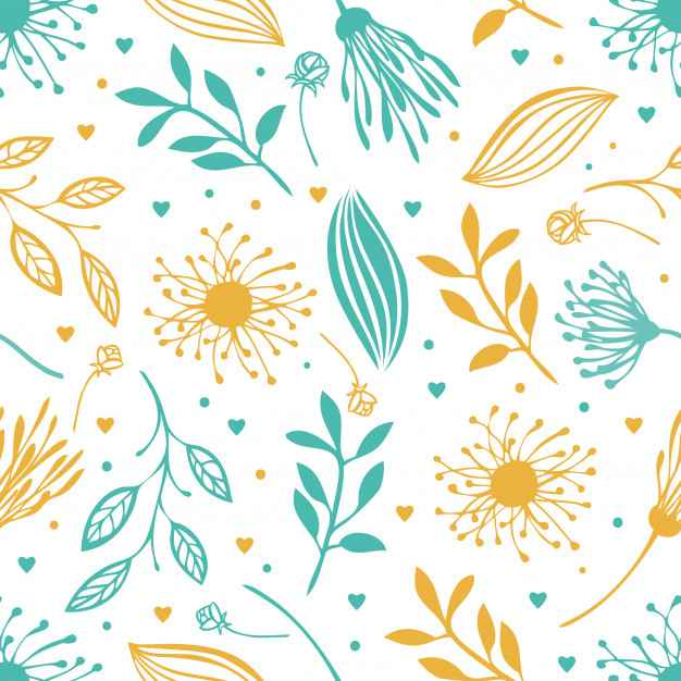 Blue and yellow abstract floral background