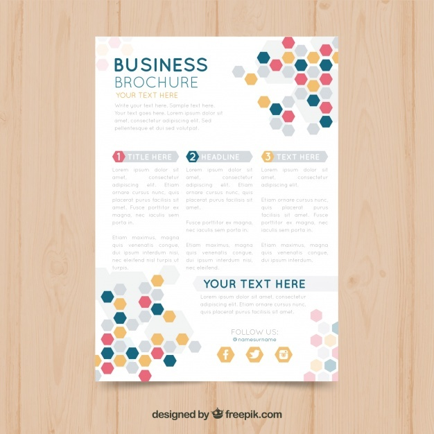 Business brochure with colored hexagons
