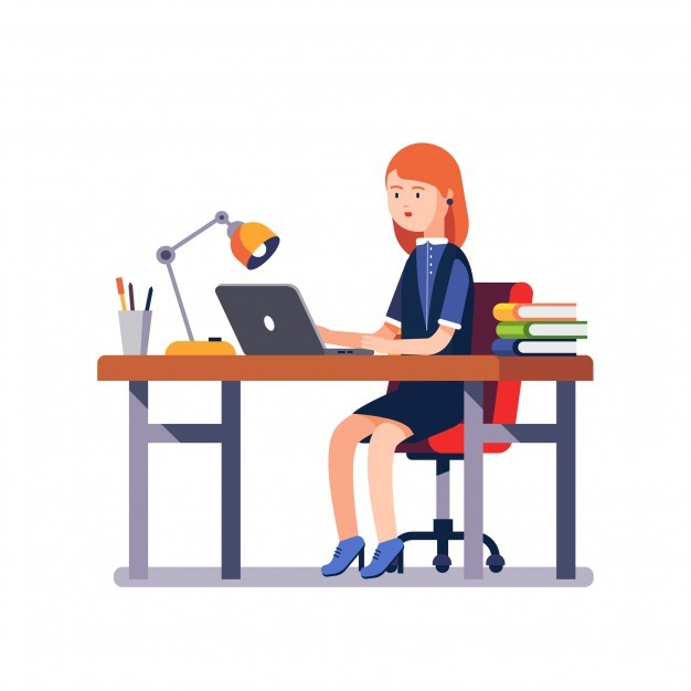 Business woman or a clerk working at office desk