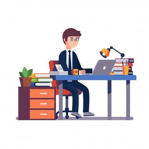 Businessman entrepreneur working at office desk
