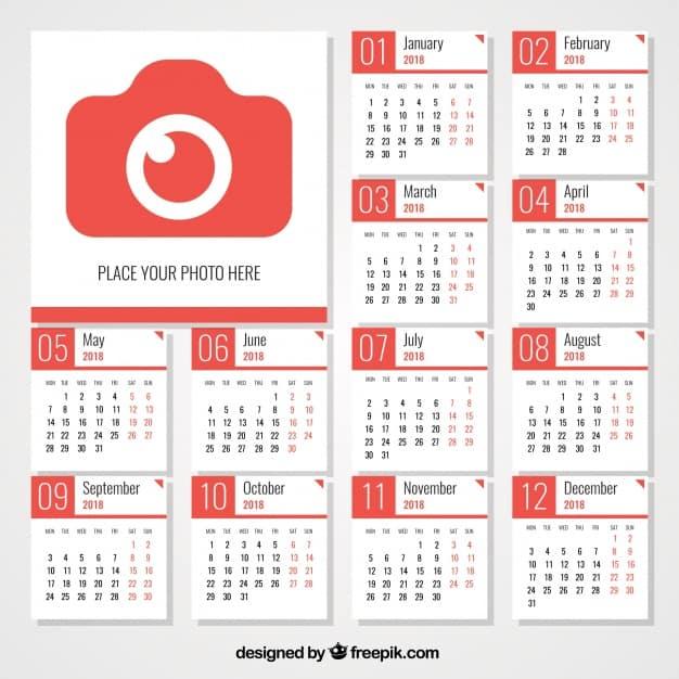 2018 calendar with camera