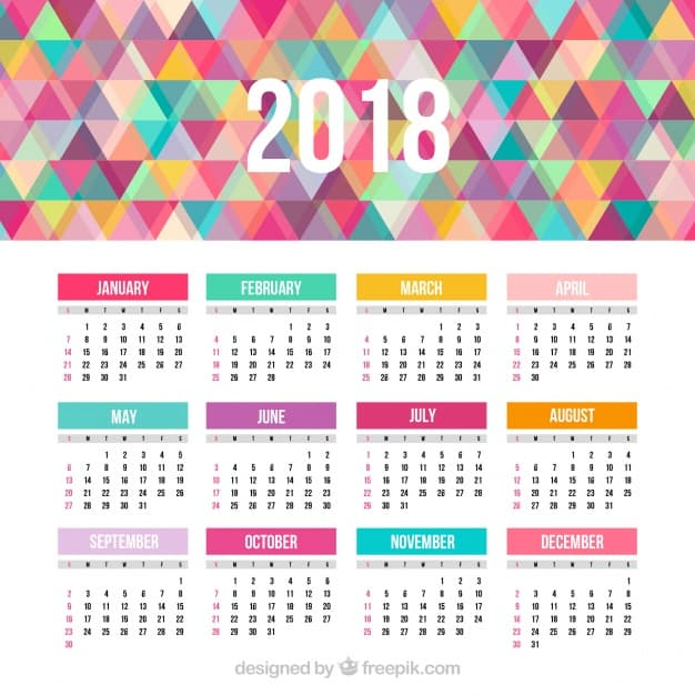 2018 calendar with colorful triangles