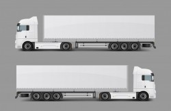 Cargo semi truck with trailer realistic vector