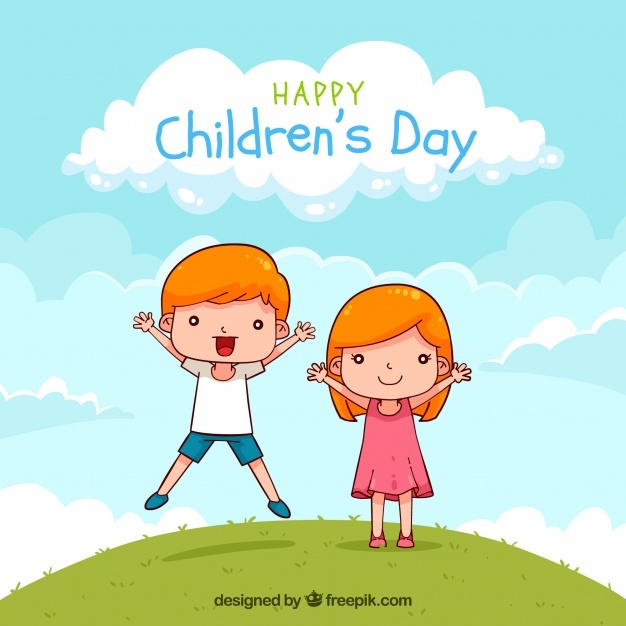 Childrens day design with jumping boy