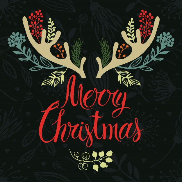 Christmas antlers postcard cover design. Calligraphy and forest herbs