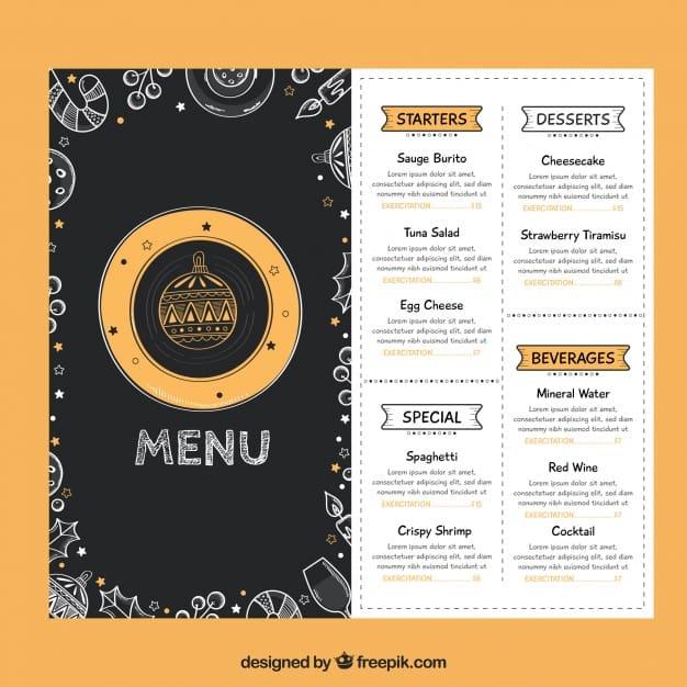 Christmas menu with drawings