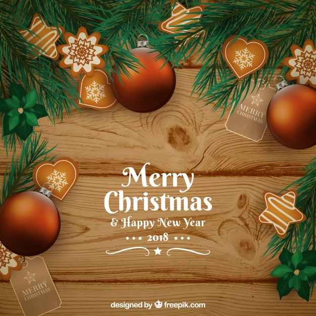 Christmas wooden background with vintage decoration