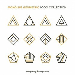 Collection of golden geometric logo