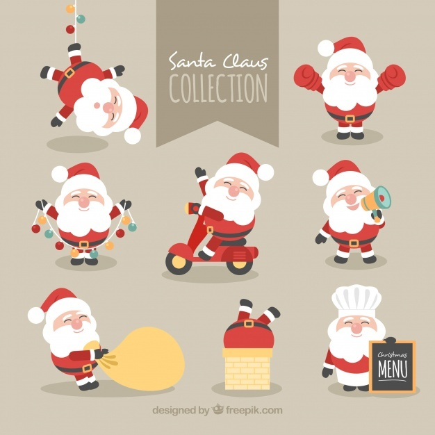 Collection of lovely character of santa claus