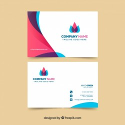 Colorful business card with flat design