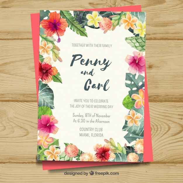 Colorful floral wedding card