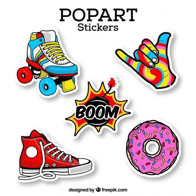 Colorful set of retro stickers