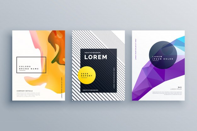 Creative brochure template cover page poster design set