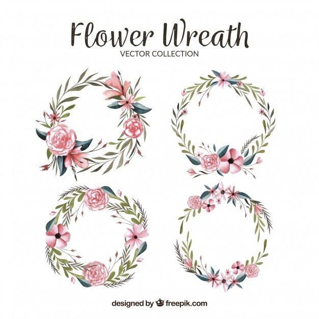 Cute pack of watercolor floral wreaths