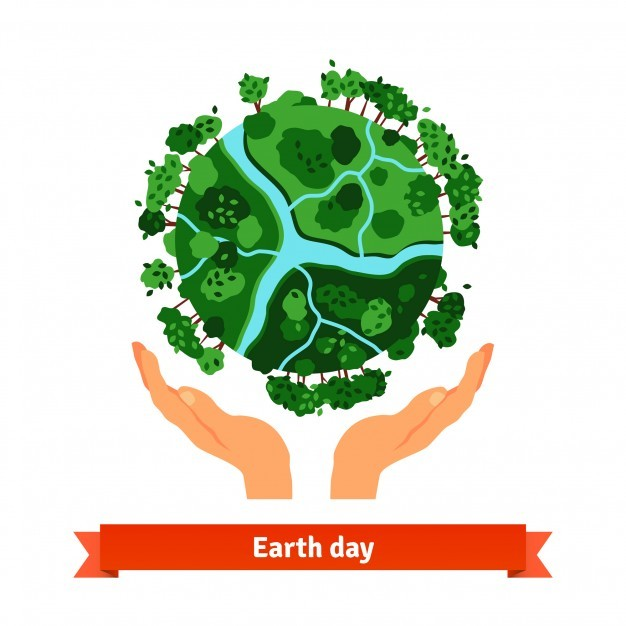 Earth day concept. Human hands holding globe