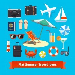 Flat summer travel icons. Vacation and tourism
