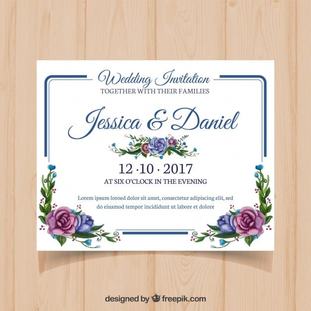 Floral wedding card with modern frame