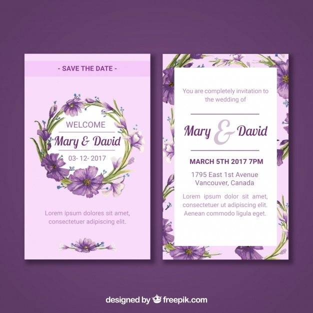 Floral wedding card with watercolor style