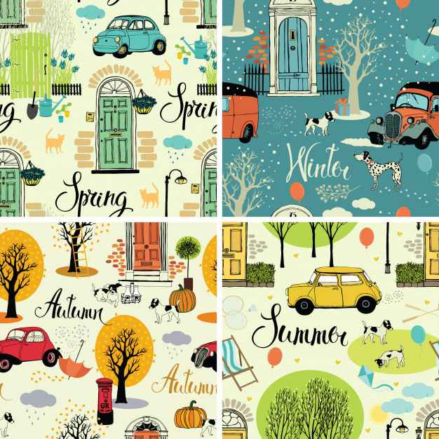 Four seasons. Set of four seamless backgrounds