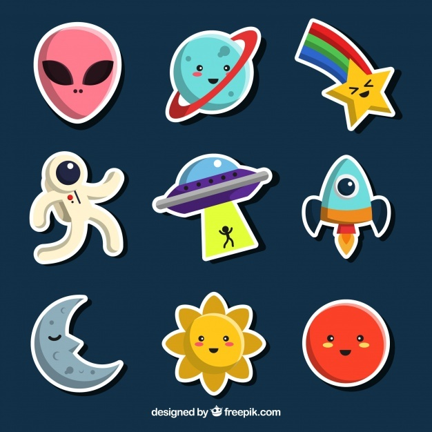 Funny space sticker collection