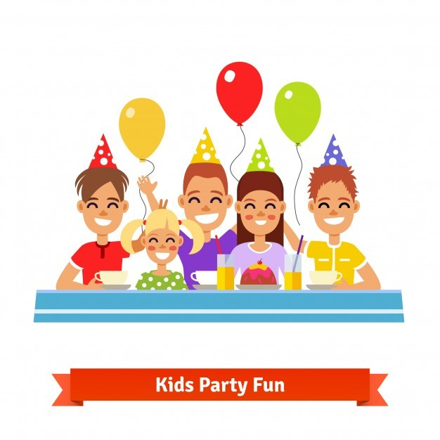 Happy smiling kids having fun at birthday party