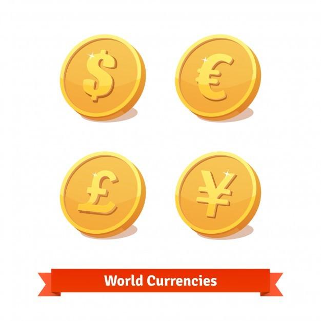Main currencies symbols represented as gold coins