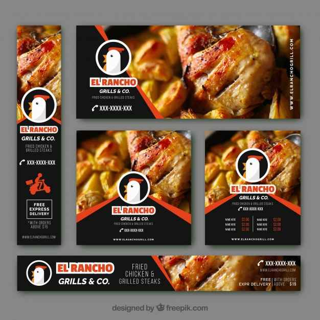 Modern banners with roasted chicken