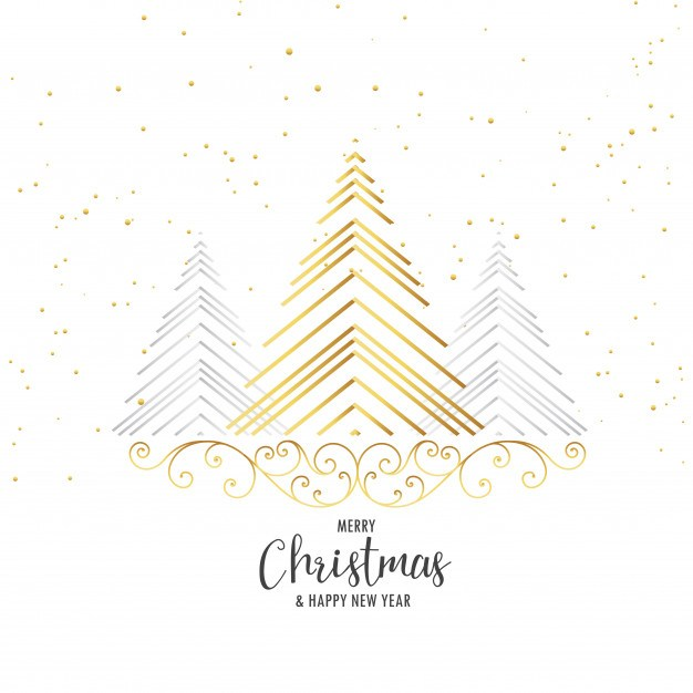 Premium christmas tree design with floral decoration on white background