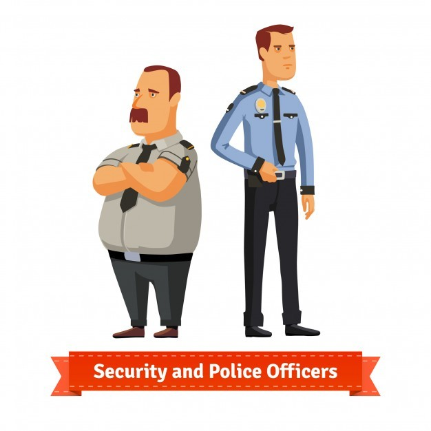 Security and police officers standing