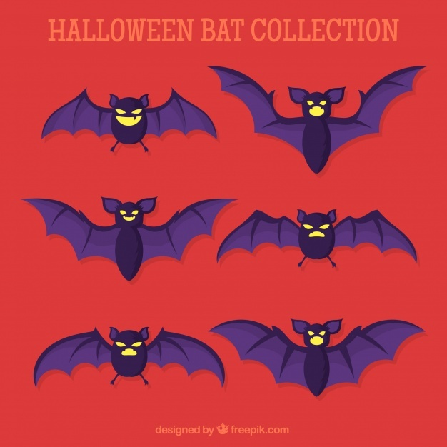 Set of bats in flat design