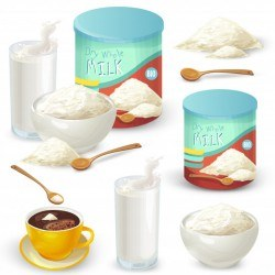 Set of color vector illustrations of whole milk powder