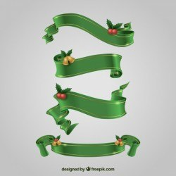 Set of green christmas ribbons