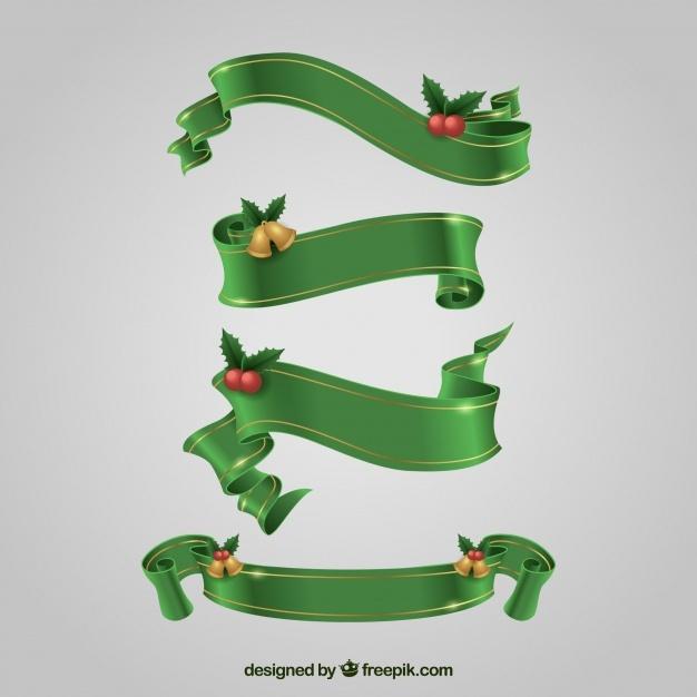 Set of green christmas ribbons