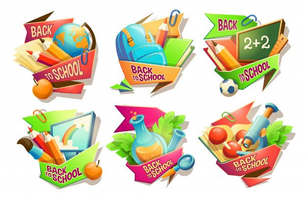 Set of vector cartoon illustrations, badges, stickers, emblems, colored icons of school supplies