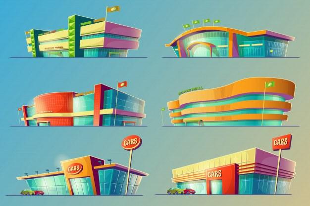 Set of vector cartoon illustrations, various supermarket buildings, shops, large malls, stores