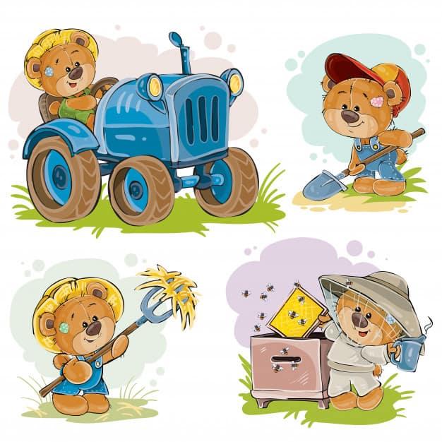 Set of vector illustrations of teddy bears tractor driver, beekeeper, farmer