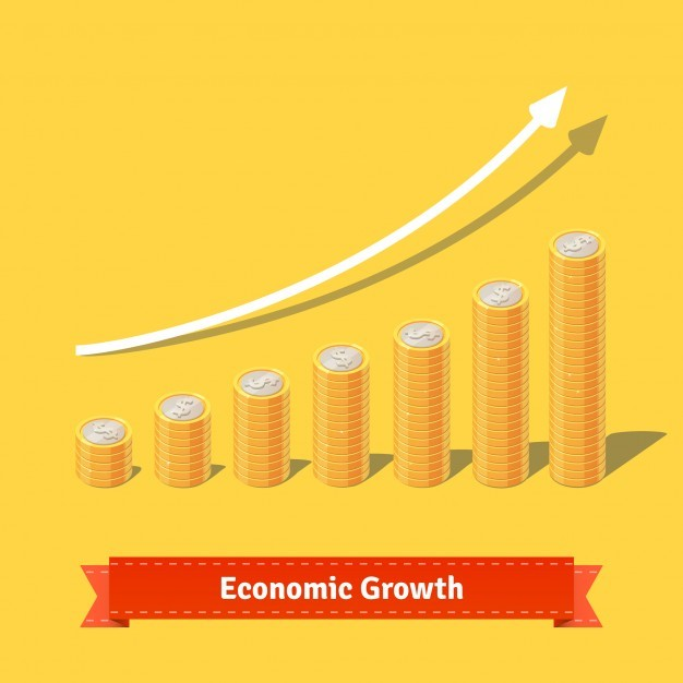 Stacked coins growth chart. Rising revenue concept
