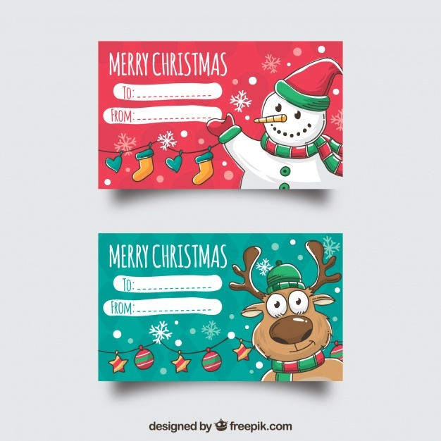 Two merry christmas cards with a snowman and a reindeer