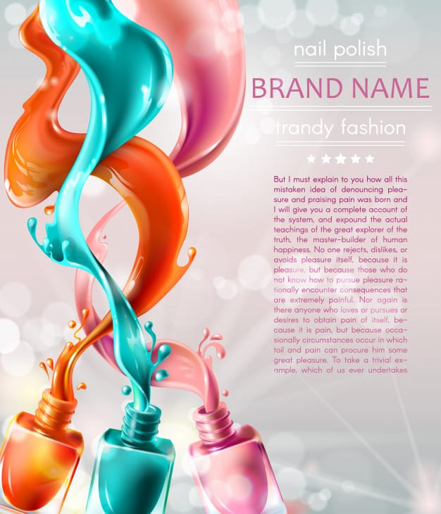 Vector illustration collection of colored open bottles with nail polish