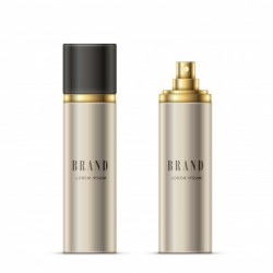Vector realistic illustration of a spray bottle of silvery color with a golden sprayer and black cap