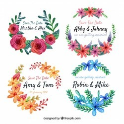 Watercolor pack of floral labels