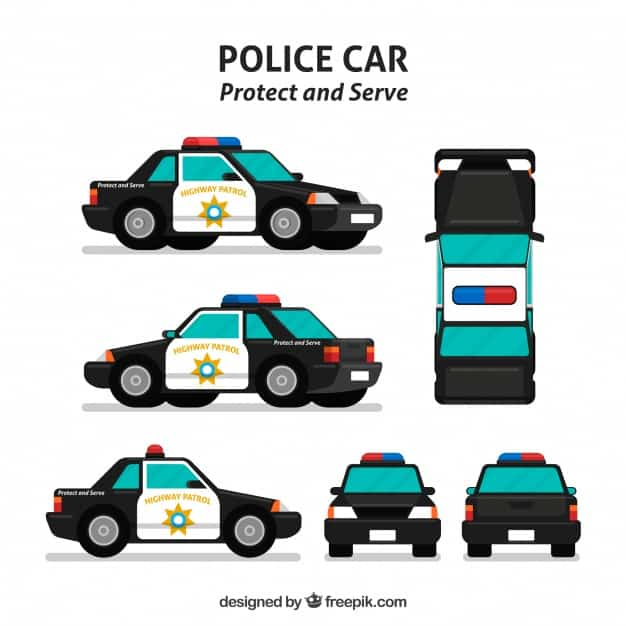 Different views of police car