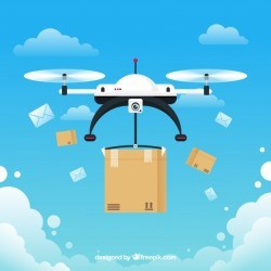 Drone delivery concept with fun style