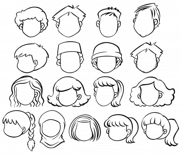 Faceless people with different hair style