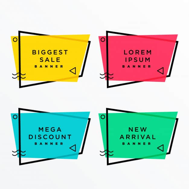 Geometric sale banners set with text space in memphis style