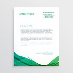 Green wavy shape letterhead vector design template