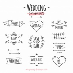 Hand drawn wedding ornament collection